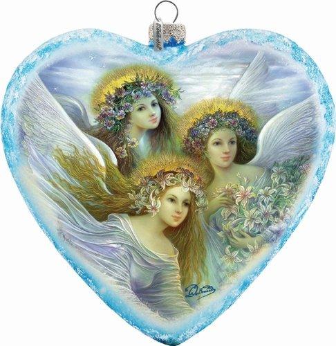 G. Debrekht Limited Edition Three Angels Glass Heart Ornament, 5.5″