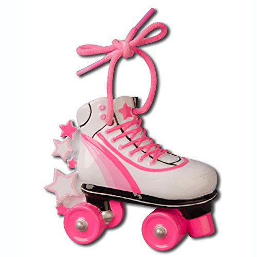 Personalizable Christmas Ornament Roller Skate Shoes Pink