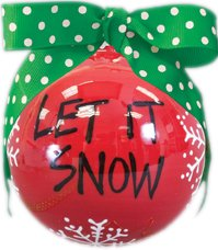"Hand Painted ""Let It Snow"" Hanging Christmas Tree Ornament"