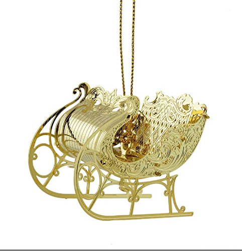 New 24KT Gold Finished 3D Christmas Sleigh Christmas Tree Ornament