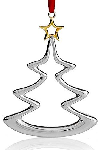Nambe Holiday Silver Plate with Gold Accent Christmas Tree Ornament by Nambe