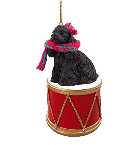 COCKER SPANIEL BLACK Dog DRUM Christmas Ornament w/Gold String & Scarf DRD15B