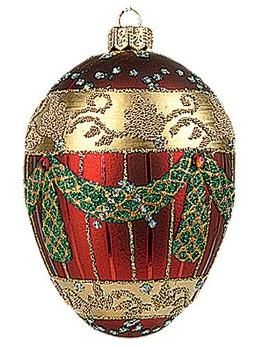 Faberge Inspired Burgundy Garland Egg Polish Glass Christmas or Easter Ornament