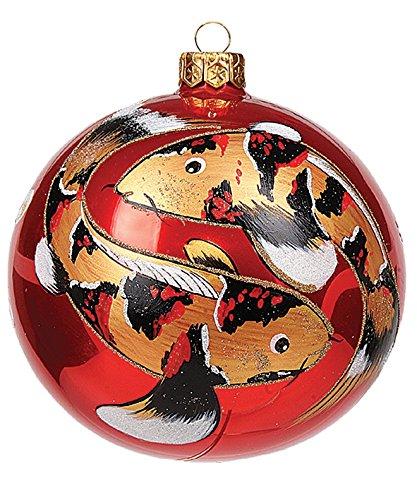 Japanese Koi Fish Ball Polish Mouth Blown Glass Christmas Ornament