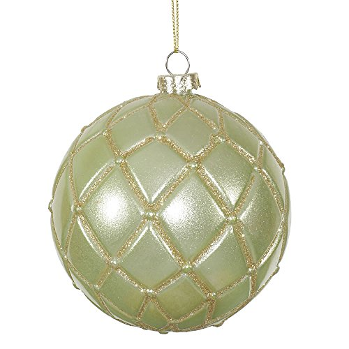 Vickerman Candy Glitter Net Ball Ornaments, 4-Inch, Celadon, 6-Pack
