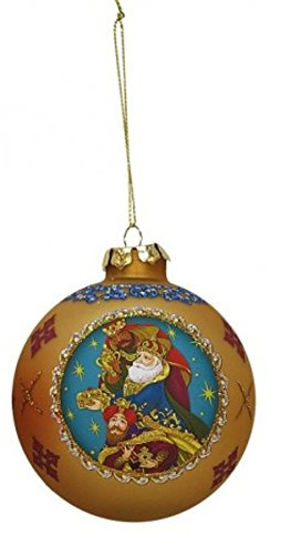 3.25″ Red Glass Religious Three Wise Men Nativity Glass Ball Christmas Ornament (80mm)