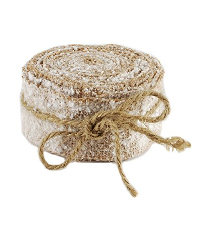 Vintage Frosted Natural Burlap Ribbon 2-in wide x 9-1/2-ft