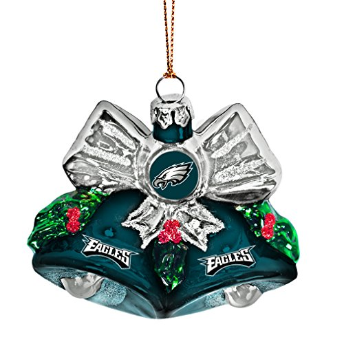 NFL Philadelphia Eagles Glitter Bells Ornament, Green, 3″ x 3″