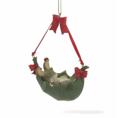 Charming Tails Binkey's Holly-Day Hammock Ornament
