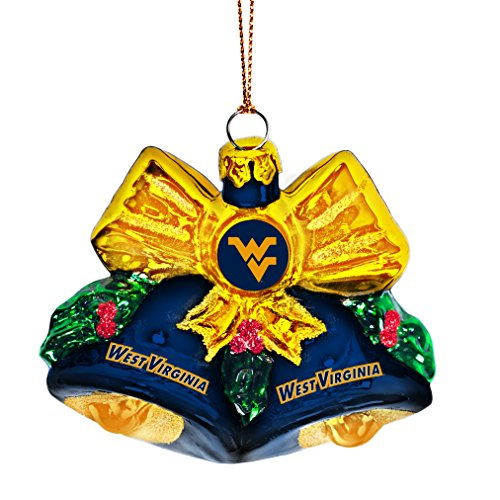 NCAA West Virginia Mountaineers Glitter Bells Ornament, Green, 3″ x 3″