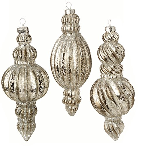 RAZ Imports – Formal Affair – 7″ Antiqued Silver Mercury Styled Finial Christmas Ornaments – Set of 3