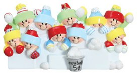 4228 Snowballs Family of 10 Hand Personalized Christmas Ornament