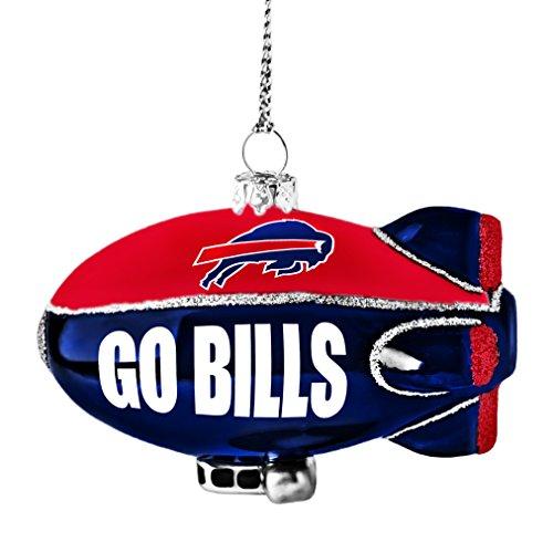 NFL Buffalo Bills Glitter Blimp Ornament, Silver, 3″ x 2.25″
