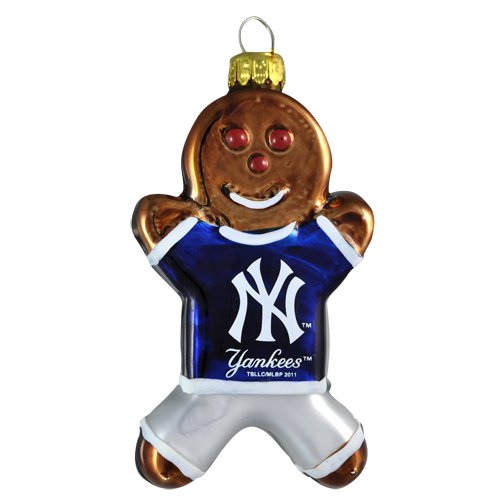 MLB New York Yankees Blown Glass Gingerbread Man Ornament