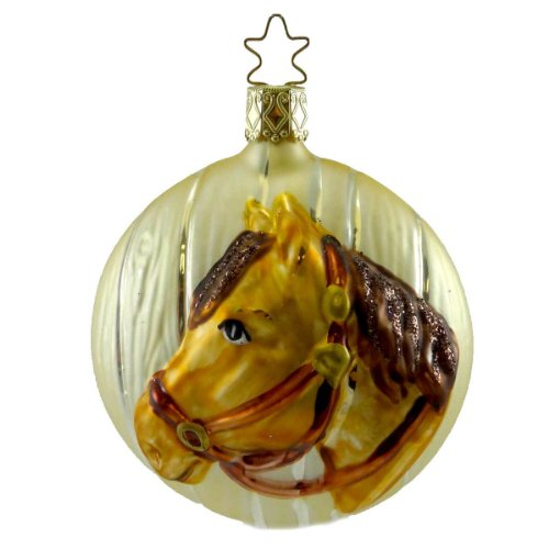 Inge Glas HITCHIN POST Blown Glass Ornament Horse Pony 115907 BROWN