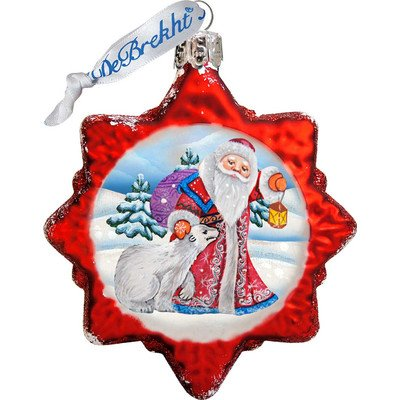 G. Debrekht Santa with Polar Bear Glass Ornament