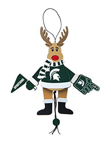 NCAA Michigan State Spartans Wooden Cheer Ornament, Brown, 5.25″