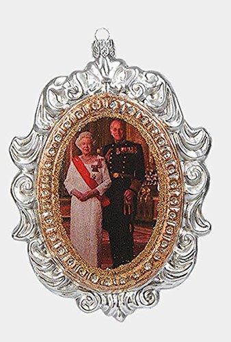 Queen Elizabeth II and Prince Philip Portrait Polish Glass Christmas Ornament