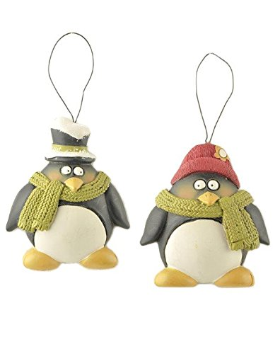 Blossom Bucket Penguins with Hat/Scarves Ornaments Christmas Decor (Set of 2), 2-1/4″ High