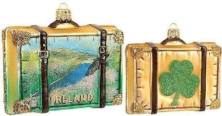 Ireland Travel Suitcase Polish Glass Christmas Ornament Made Poland Decoration