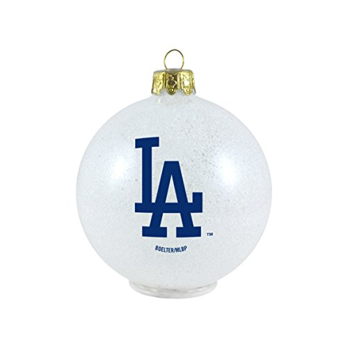 MLB Los Angeles Dodgers LED Color Changing Ball Ornament, 2.625″, White