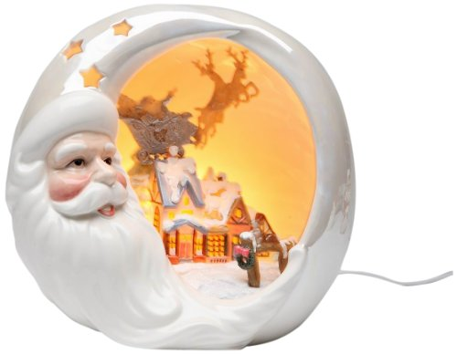 Appletree Design Santa with Christmas House Night Light, 7-1/4-Inch Tall, Includes Light Bulb and Cord