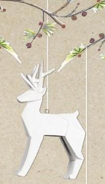 1 X One Hundred 80 Degrees Porcelain White Deer Ornament by 180 Degrees