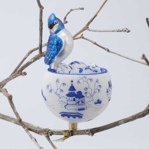 David Strand Designs Glass Blue Jay in Birds Nest Clip On Christmas Ornament 6″