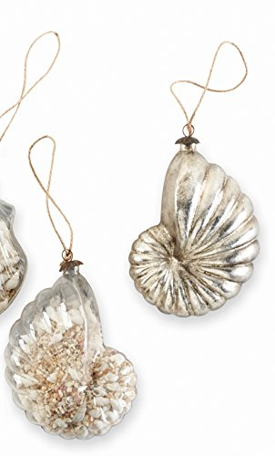 Mud Pie Glass Shell Filled Ornaments (Nautilus)
