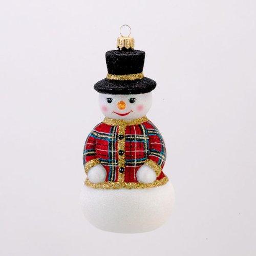 David Strand Designs Glass New Sweater Stewart Plaid Snowman Christmas Ornament