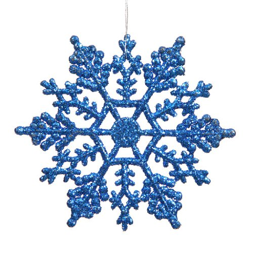 Vickerman 23549 – 6.25″ Blue Glitter Snowflake Christmas Tree Ornament (12 pack) (M101502)