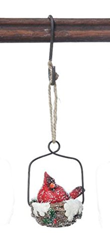 Nesting Cardinal in the Snow Hanging Christmas Tree Ornament