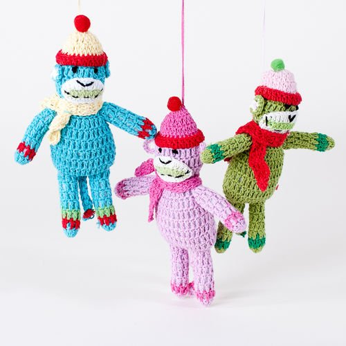 "One Hundred 80 Degrees Crocheted ""Sock"" Monkey Ornament, Choice of Colors (pink)"