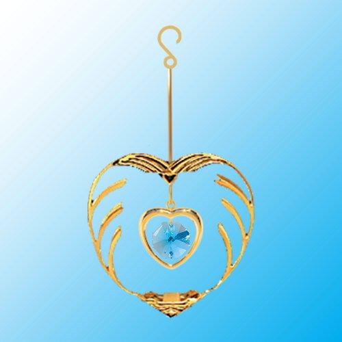 24k Gold Heart in Heart Ornament – Blue Swarovski Crystal