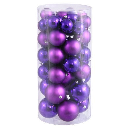 50ct Purple Passion Shiny & Matte Shatterproof Christmas Ball Ornaments 1.5″-2″