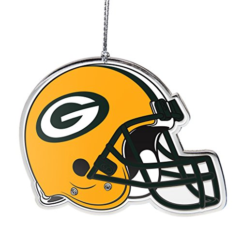 NFL Green Bay Packers Flat Metal Helmet Ornament, Silver, 3″ Width and 2.25″ Height