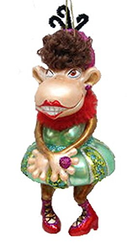 December Diamonds Blown Glass Ornament Dancing Monkey