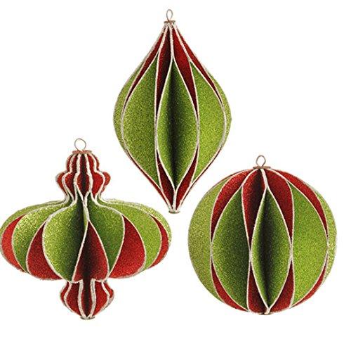 RAZ Imports – 5.5″ Glittered Honeycomb Ornaments – Set of 3