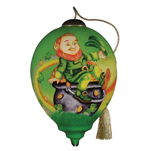 Ne'Qwa Art Luck o' the Irish – Glass Ornament Hand-Painted Reverse Painting Distinctive 494-NEQ