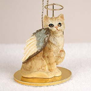 CAT RED Ginger Tabby Short hair MINIATURE Angel Christmas Ornament NEW Resin CTA04