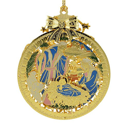 new 24kt gold finished 3d silent night nativity christmas