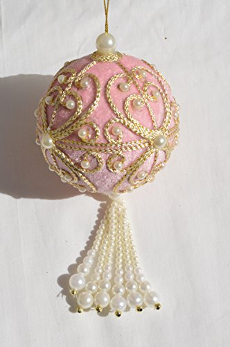 Pink Velvet Ball Glamour Christmas Ornament with Faux Pearls