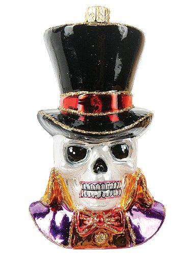 Halloween Skeleton Skull Polish Glass Day of the Dead Ornament Decoration