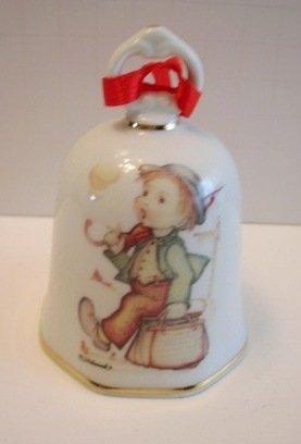 """Hummel Porcelain """"Boy with Bag"""" Ornament Bell"""