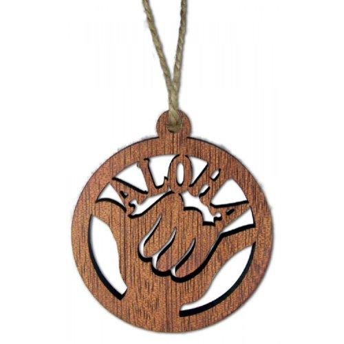 Hawaiian Aloha Shaka Round Wood Laser Cut Christmas Ornament