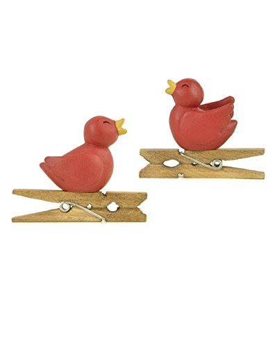 Blossom Bucket Red Bird Clips Ornaments Christmas Decor (Set of 2), 1-1/2″ High
