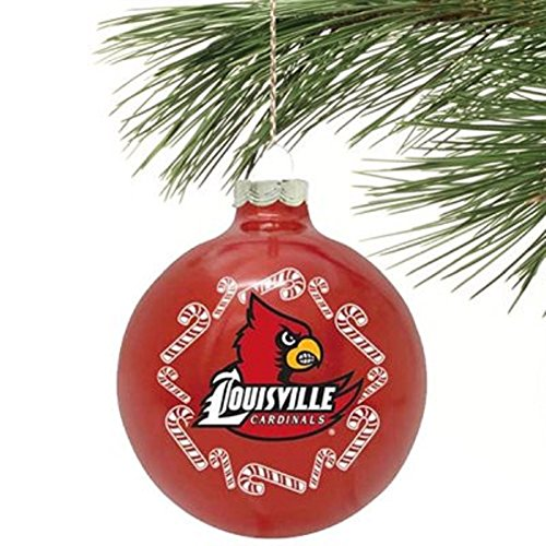 NCAA Candy Cane Traditional Glass Ball Christmas Ornament- 2 5/8″-Louisville Cardinals