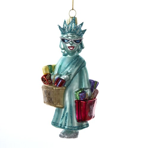 Kurt Adler NYC Shopping Lady Liberty Ornament, 5.25-Inch