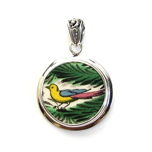Broken China Jewelry Spode Christmas Tree Bird Ornament Circle Sterling Pendant
