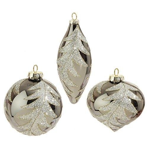 RAZ Imports – Formal Affair – 4″ Silver Glittered Leaf Christmas Tree Ornaments – Set of 3